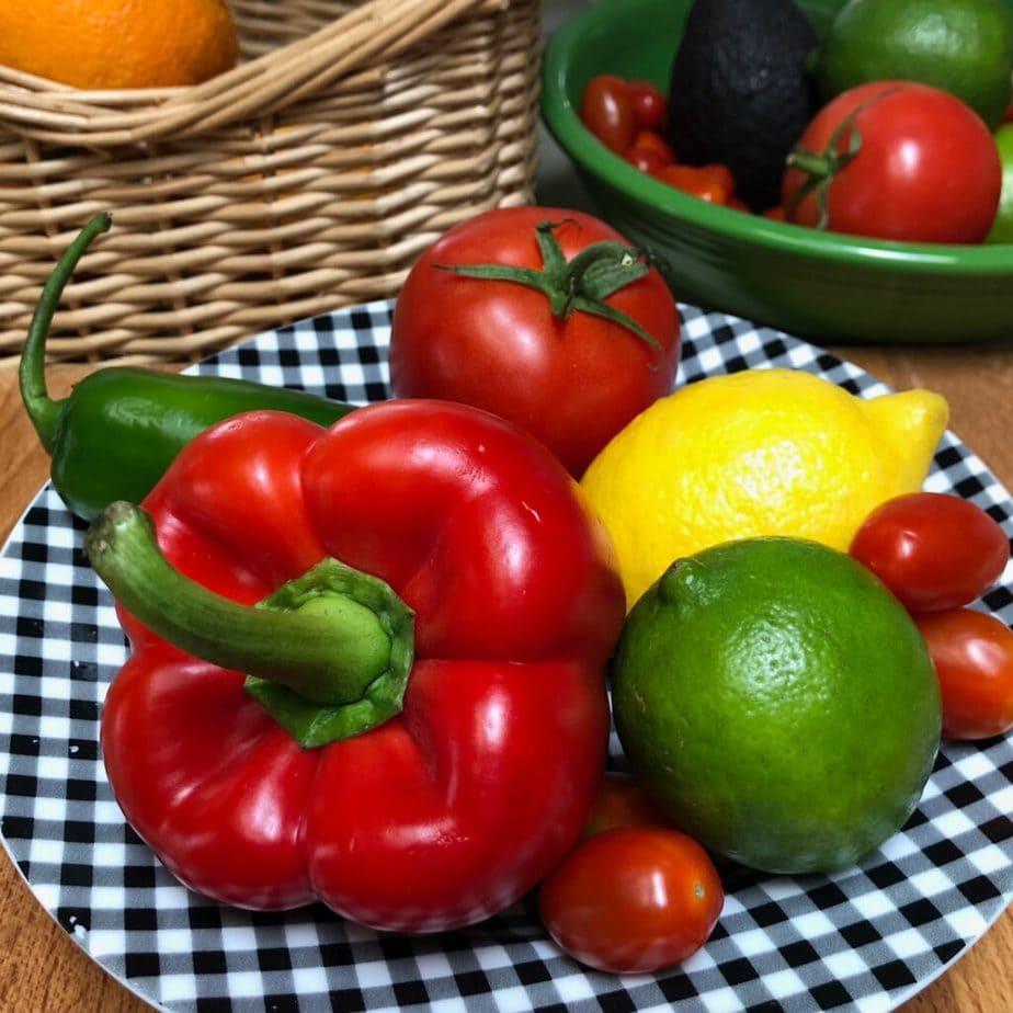 red bell pepper, lemon, lime, tomatoes