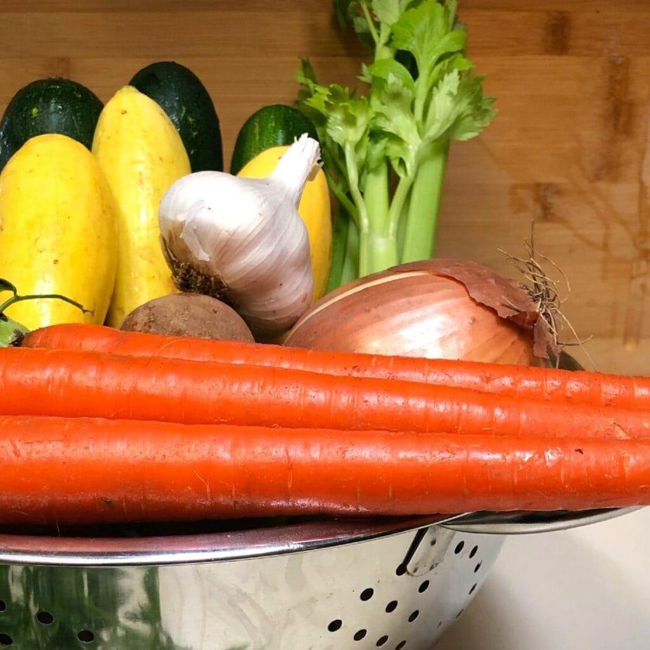 vegan rustic vegetable soup ingredients