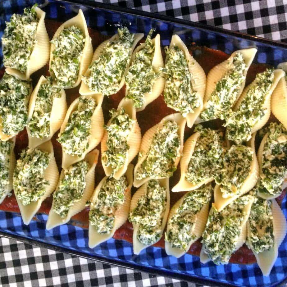 vegan spinach ricotta shells
