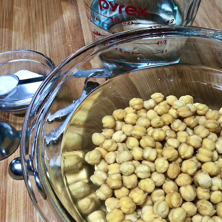 chickpeas soaking in water