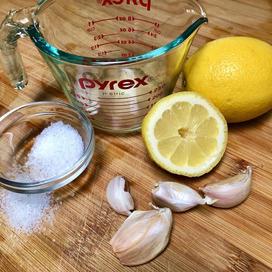 fresh lemon, salt and garlic