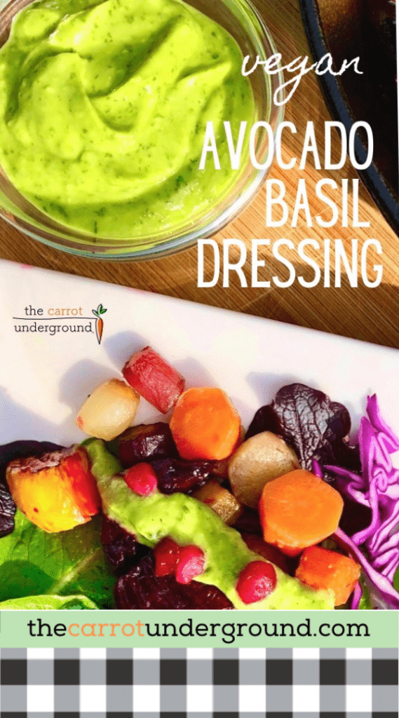 avocado basil dressing and roasted root vegetables on a plate