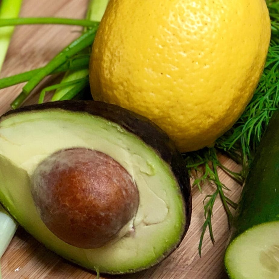 sliced avocado and lemon