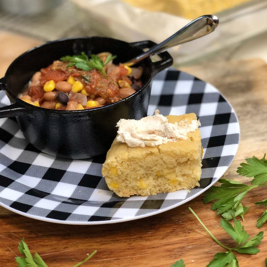 vegan chili and cornbread with maple orange butterwith