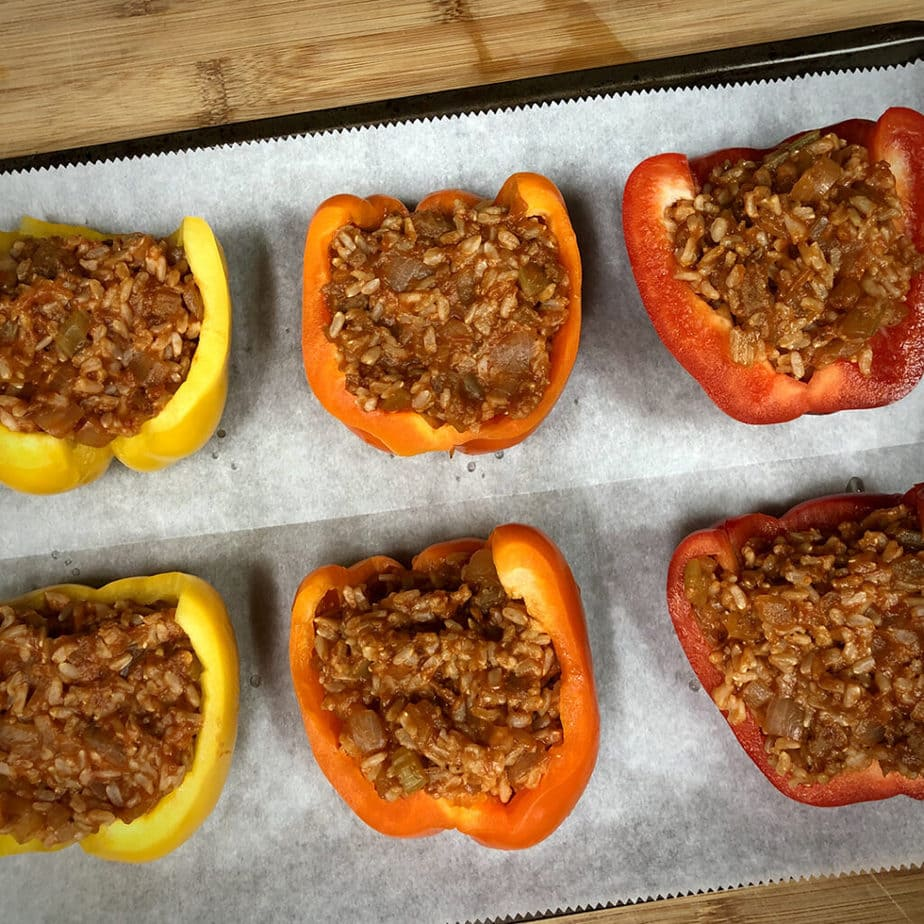 stuffed peppers on baking pan