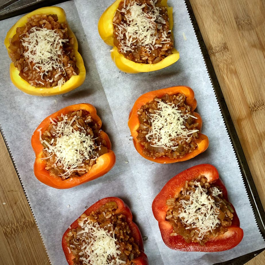 stuffed peppers with cheese before baking