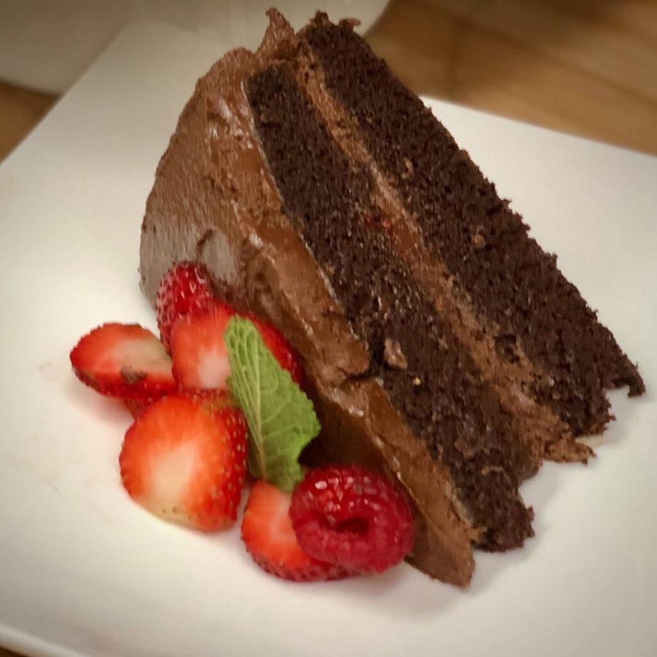 vegan devil's food cake slice