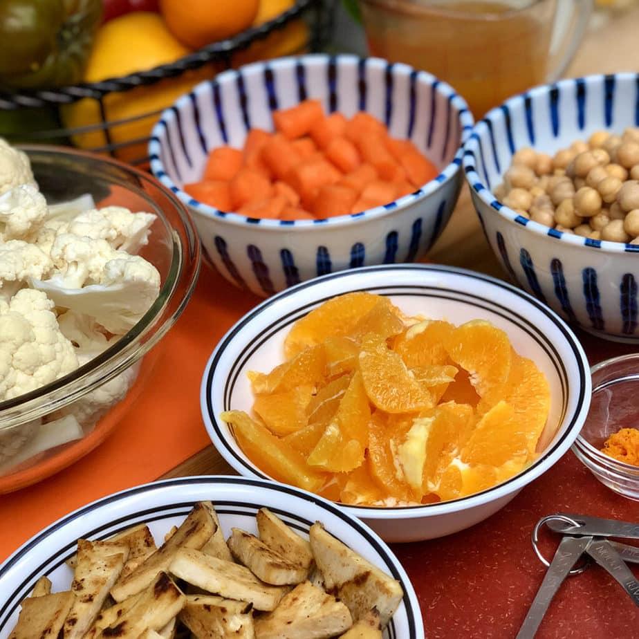 tofu oranges carrots cauliflower chickpeas