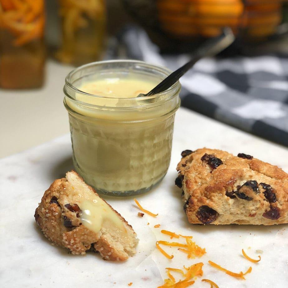 vegan orange curd and scone