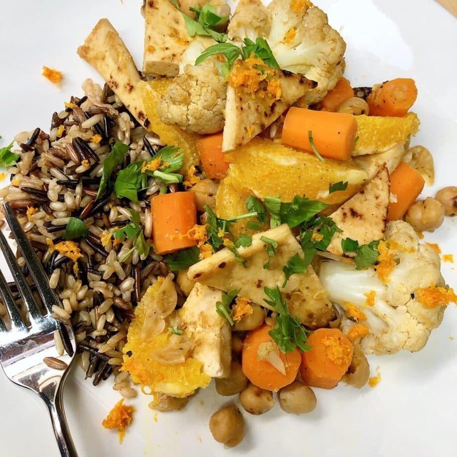 tofu orange veggie skillet