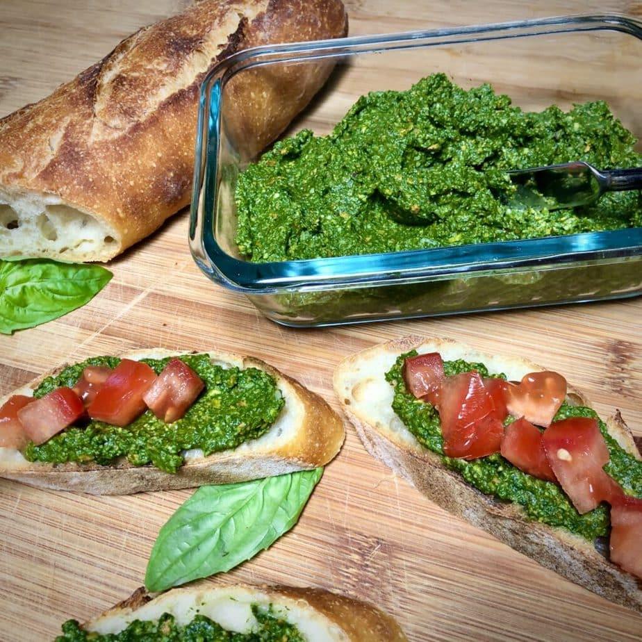 vegan pesto sauce on french bread