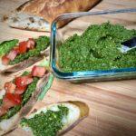 vegan pesto sauce on bread