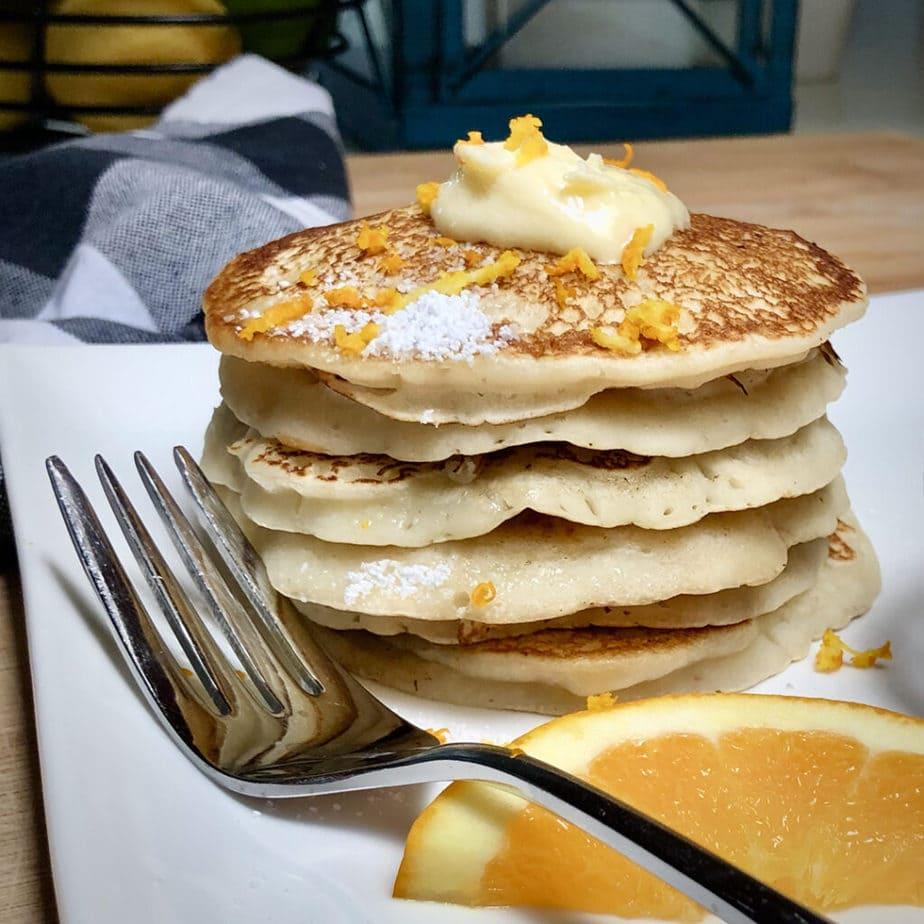 Perfect vegan pancakes with vegan orange maple butter