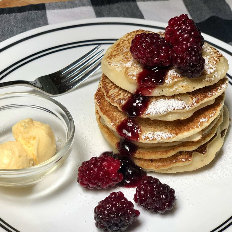 vegan perfect pancakes with boysenberries