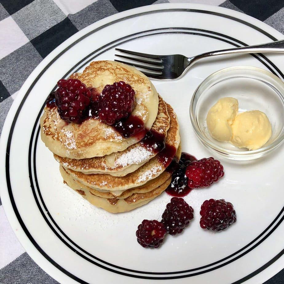 vegan pancakes with boysenberries
