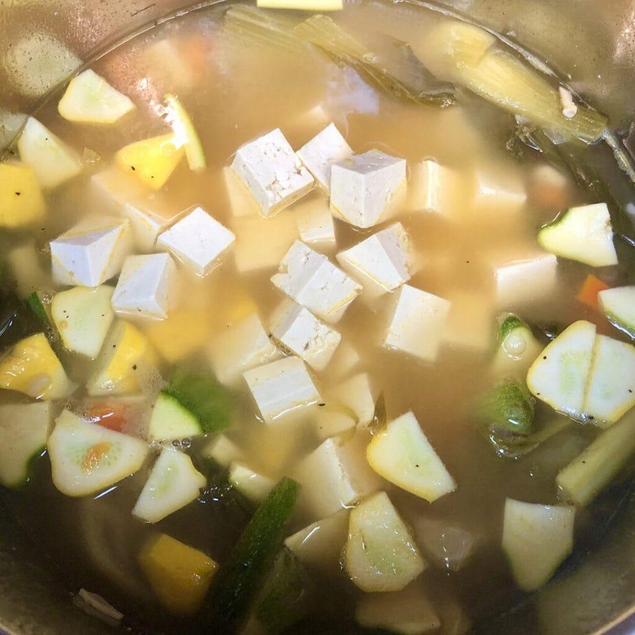 tofu in pot