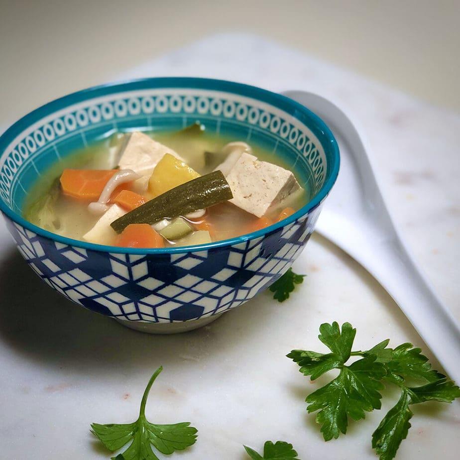 bowl of vegan tom yum soup