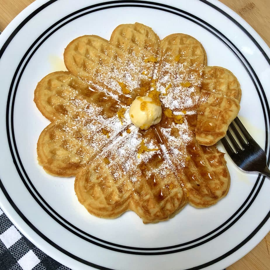 vegan waffles with maple syrup and tangerine zest