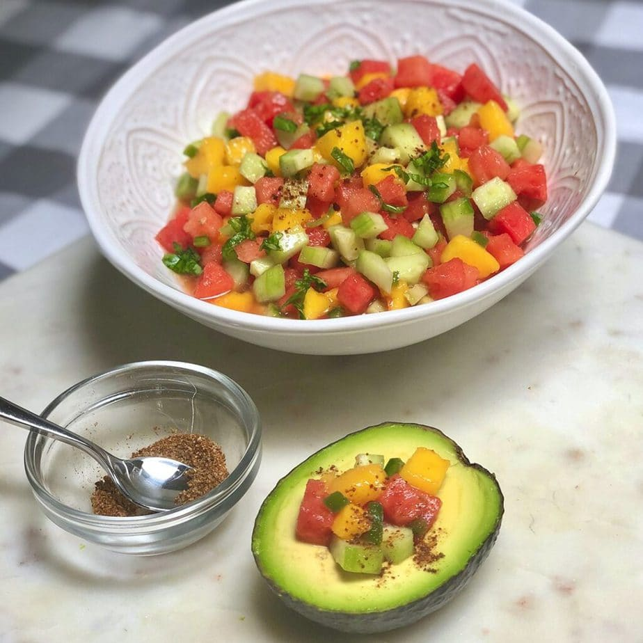 watermelon pico de gallo in bowl