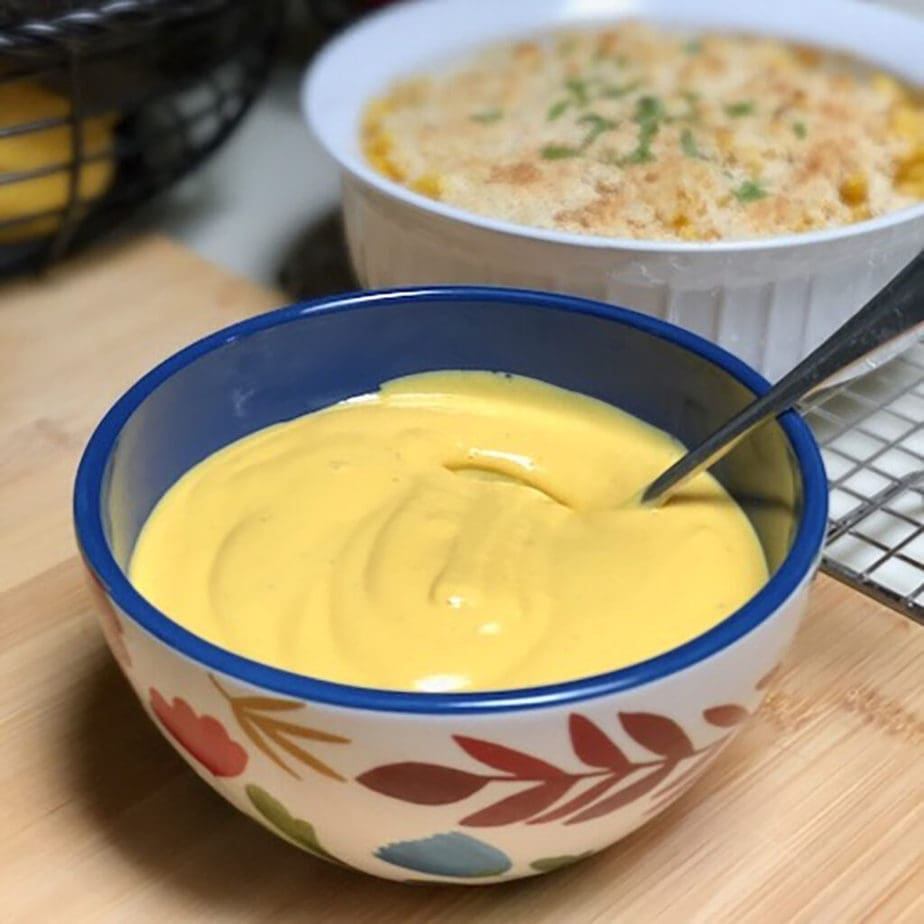 bowl of easy vegan cheese sauce
