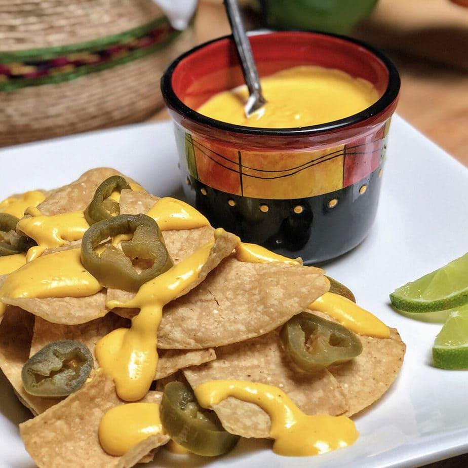 easy vegan cheese sauce on nachos