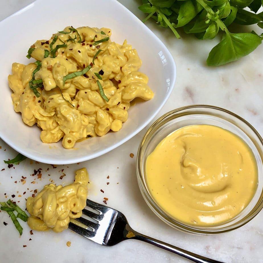 easy vegan cheese sauce and vegan mac and cheese