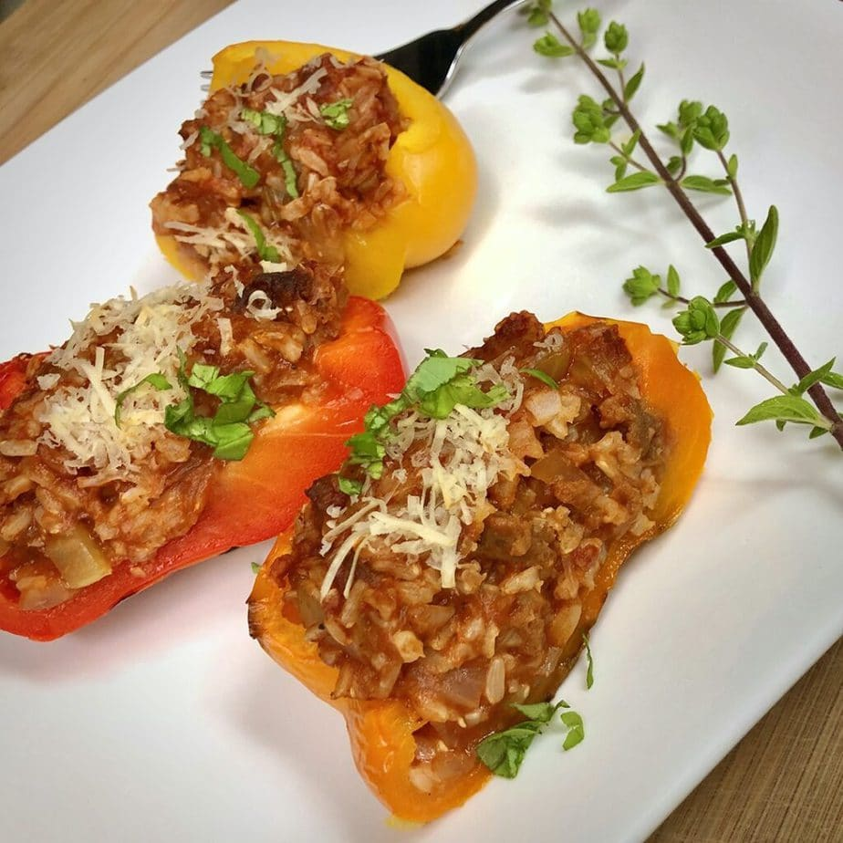 plated roasted bell peppers