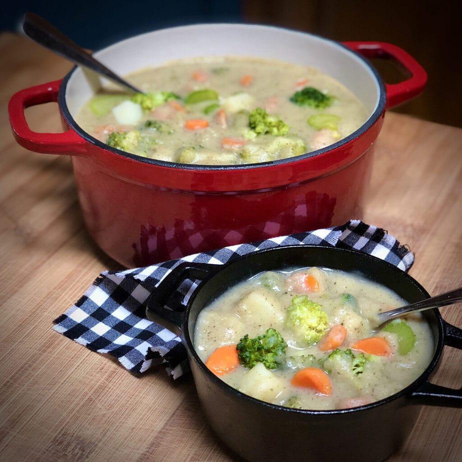 creamy vegan broccoli soup in pots