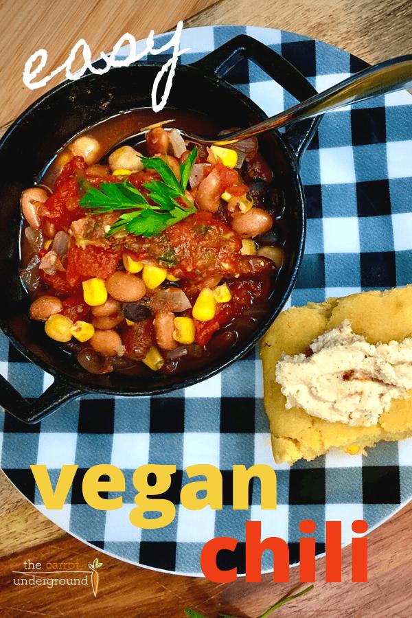 easy vegan chili and cornbread