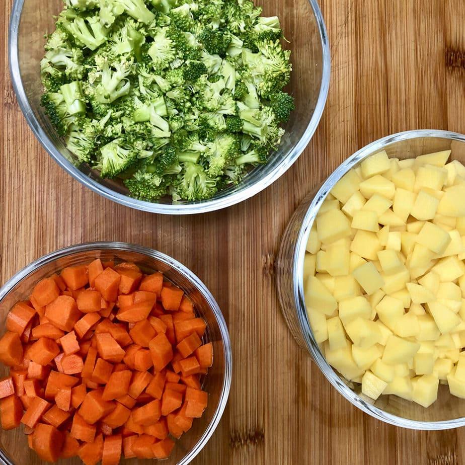diced carrots broccoli and potatoes
