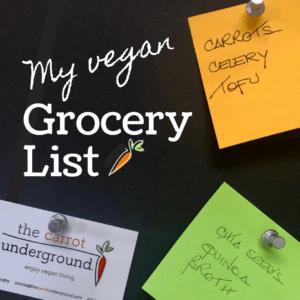 blackboard with vegan grocery list