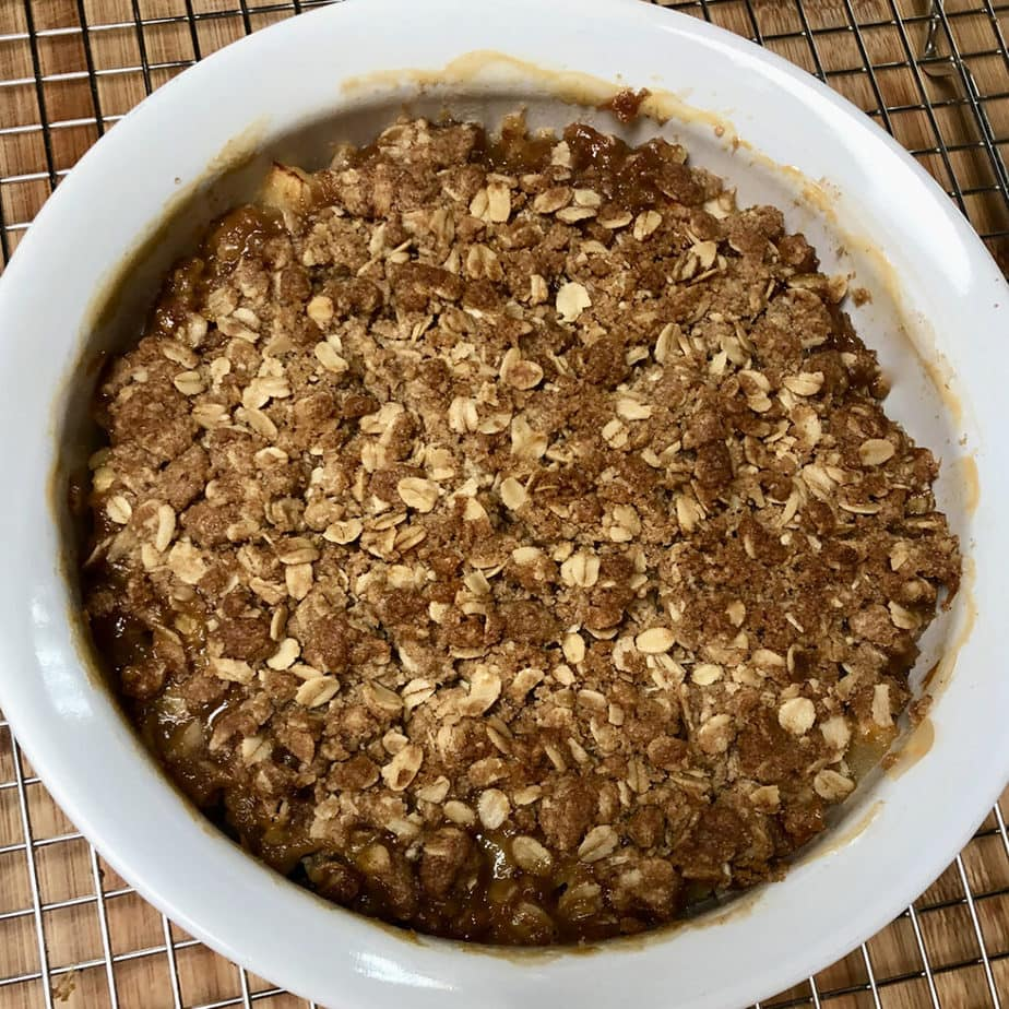 baked apple crisp hot from the oven