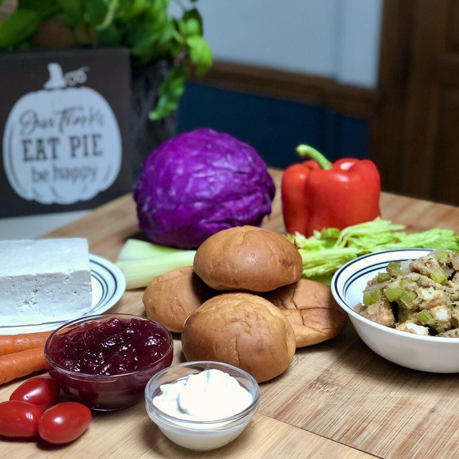 ingredients for tofu turkey sandwich