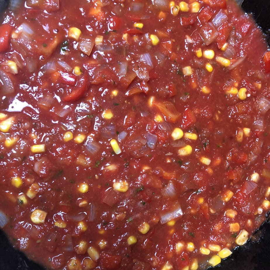 finished spanish rice sauce in pan