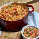 best vegan spanish rice in pot and bowl