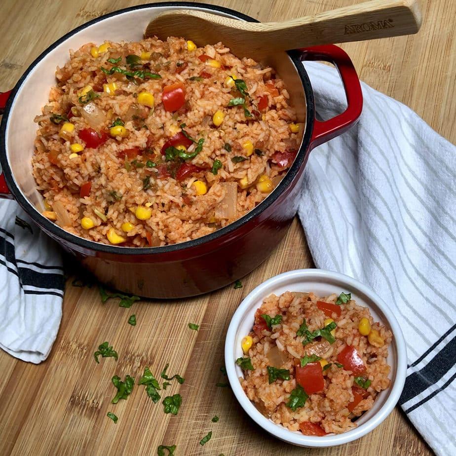 vegan spanish rice inside pot and dish