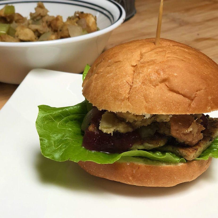 Vegan Thanksgiving leftover sandwich