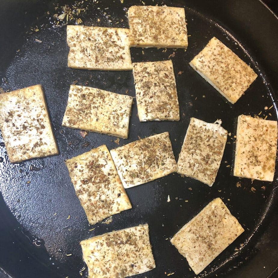 herbed tofu in skillet