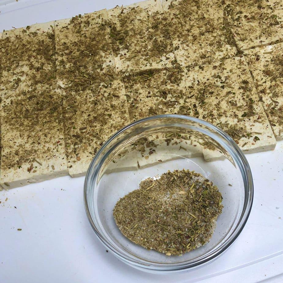 sliced tofu with herb rub