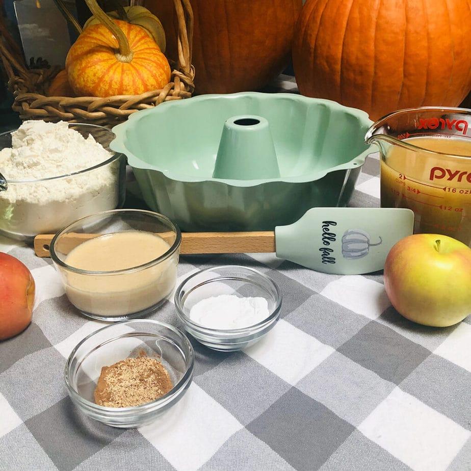 Ingredients for making old fashioned vegan applesauce cake.
