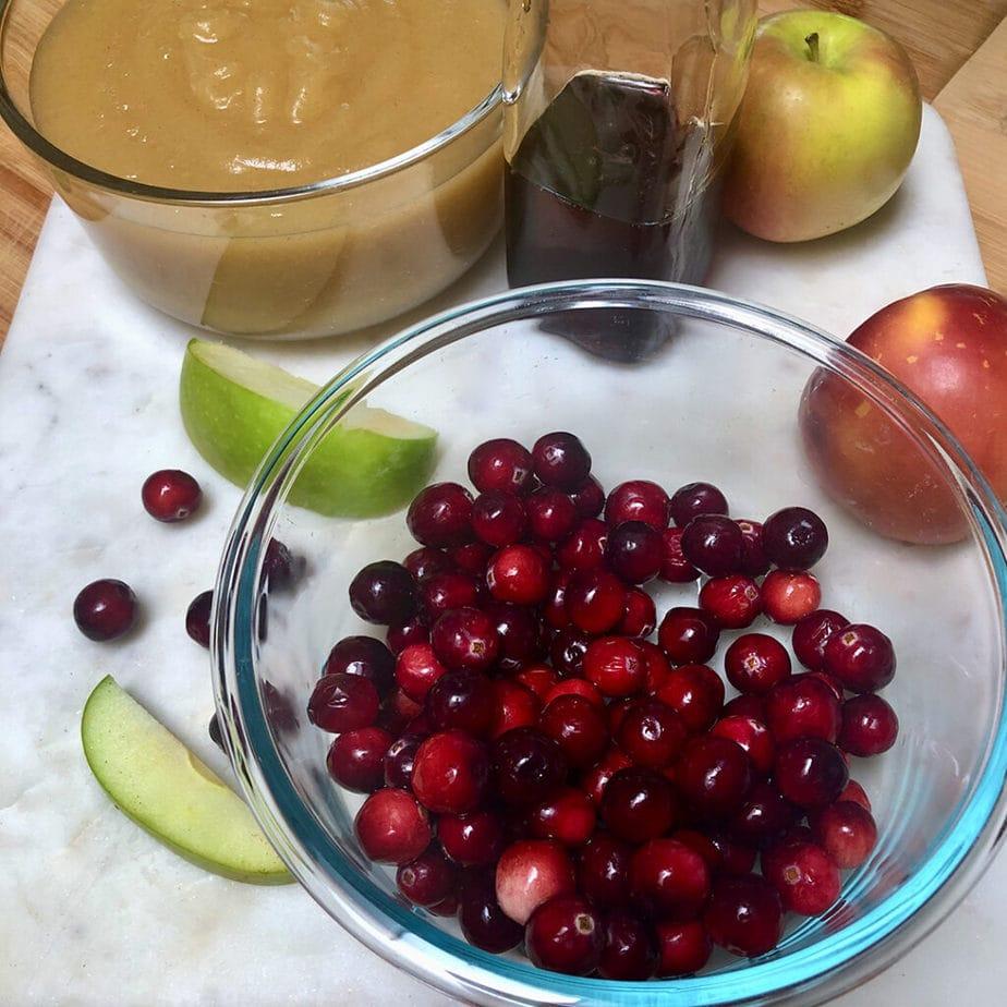 Ingredients for making old fashione vegan applesauce cake.