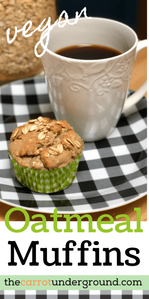 cegan oatmeal muffin and a cup of coffee
