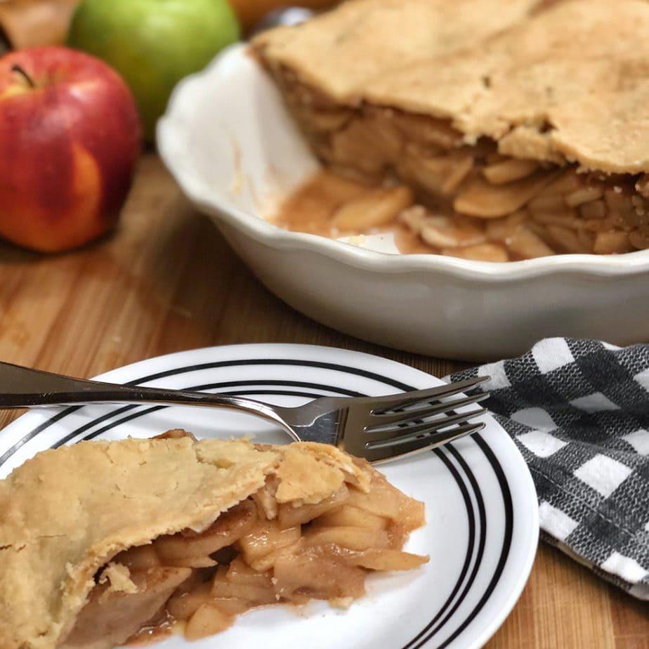 slice of vegan apple pie