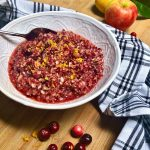 easy fresh cranberry relish in a bowl