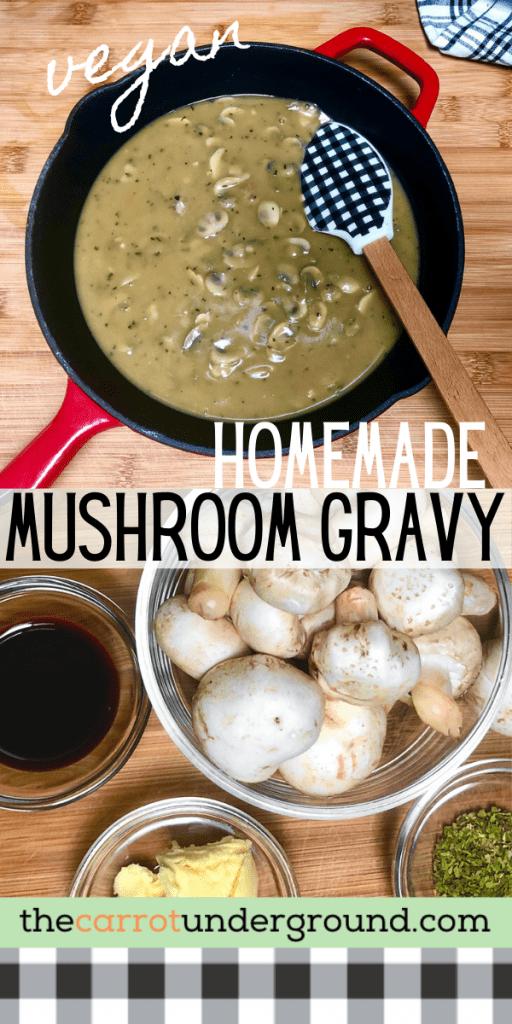 an homemade mushroom gravy pin