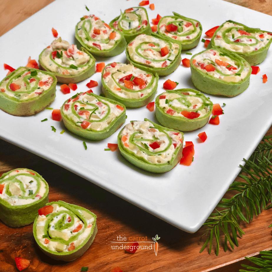 easy vegan fiesta rolls on plate