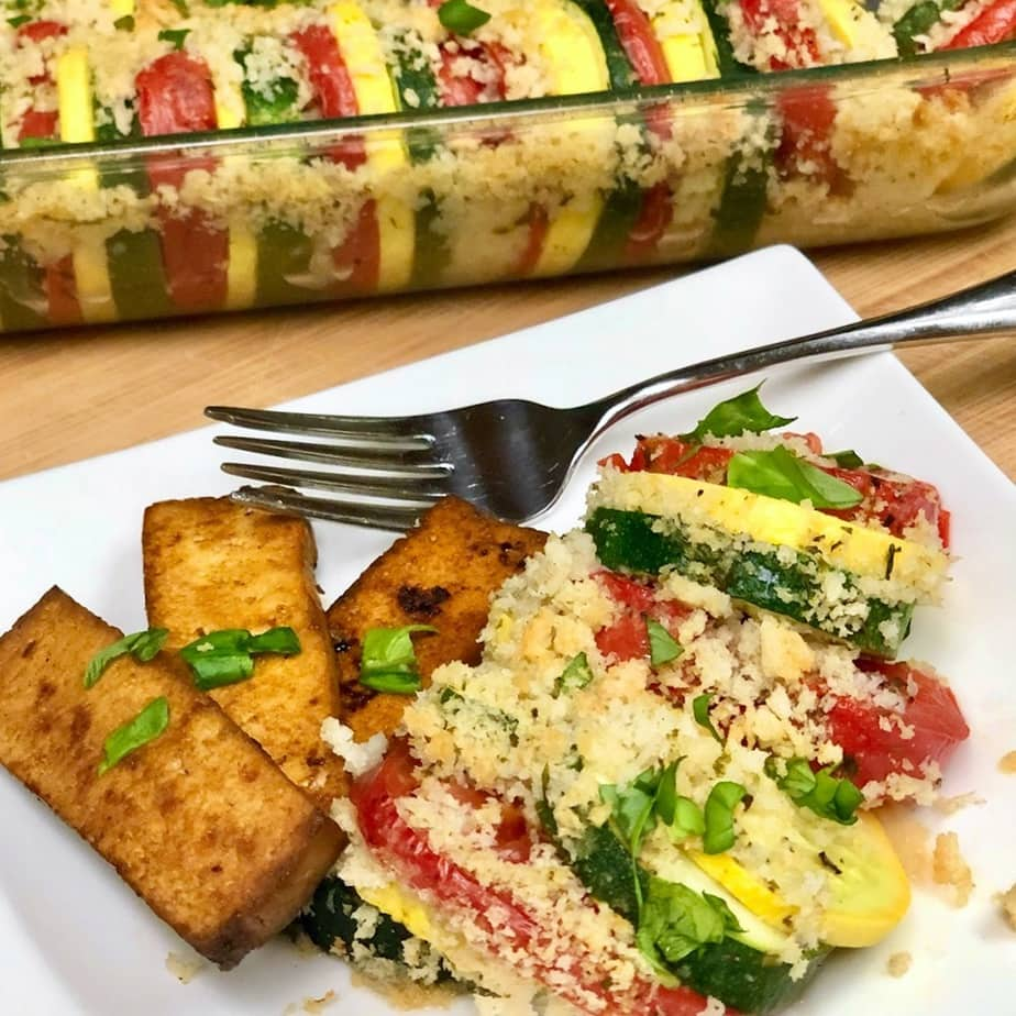 savory herbed tofu and garden zucchini squash casserole on a plate