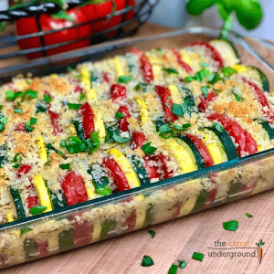 Garden Zucchini Squash Casserole in baking dish