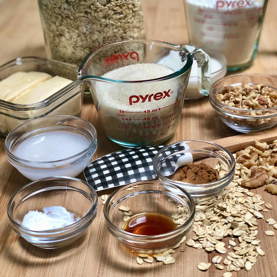 Ingredients to make simple vegan old fashioned oatmeal cookies.