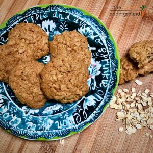 vegan oatmeal cookies on a plate.